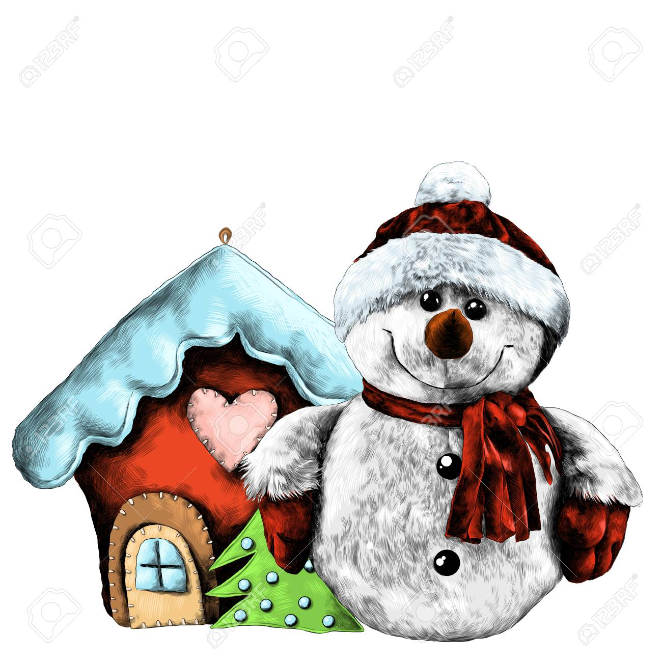Rag Snowman Near Christmas Toy House Sketch Vector Graphics Color Drawing Stock