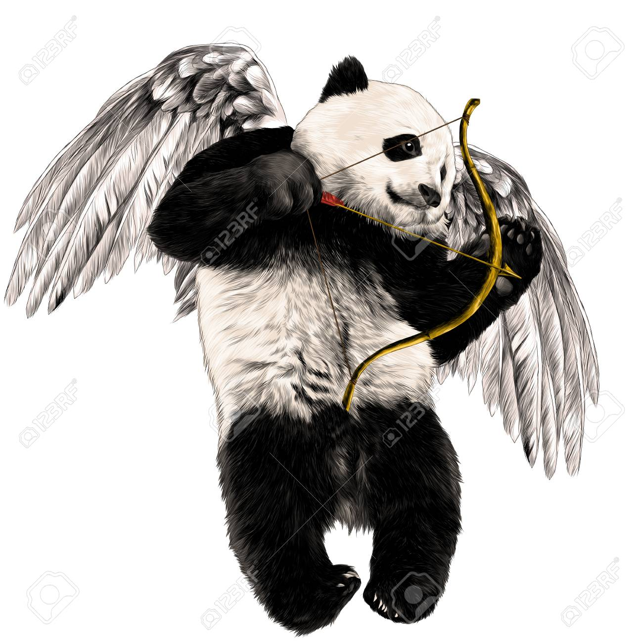 Panda angel with wings and a bow flies sketch vector graphics color picture - 95809889