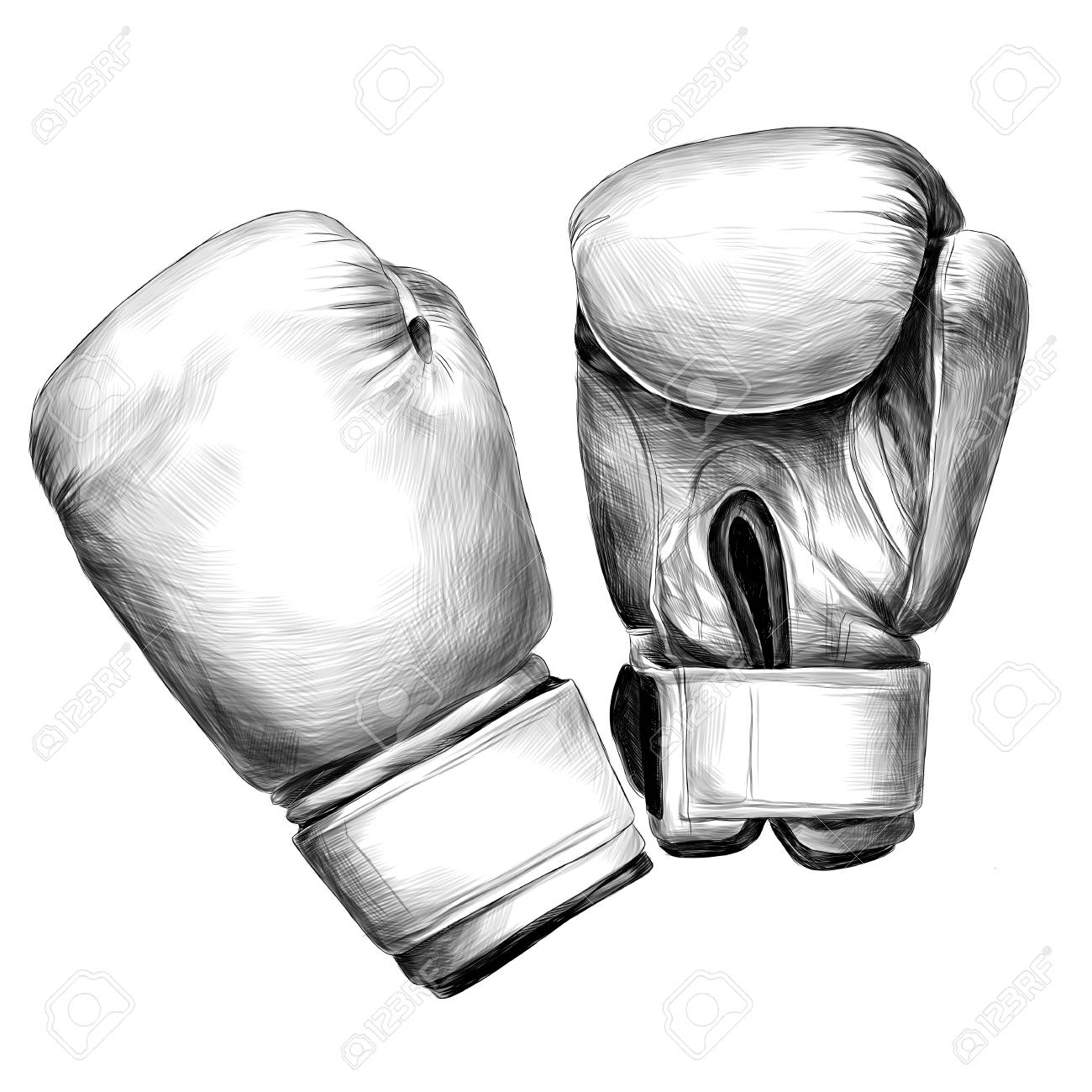 Boxing gloves sketch vector graphics monochrome black and white drawing stock vector 96185957