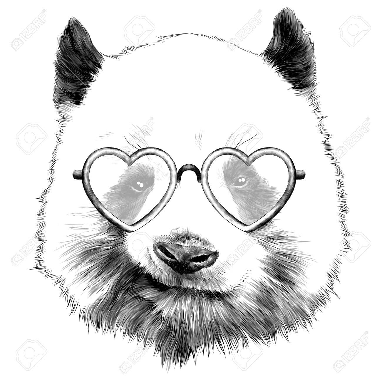 720ceabe7b9 Cunning panda head with glasses in heart shape sketch graphics of a black  and white drawing