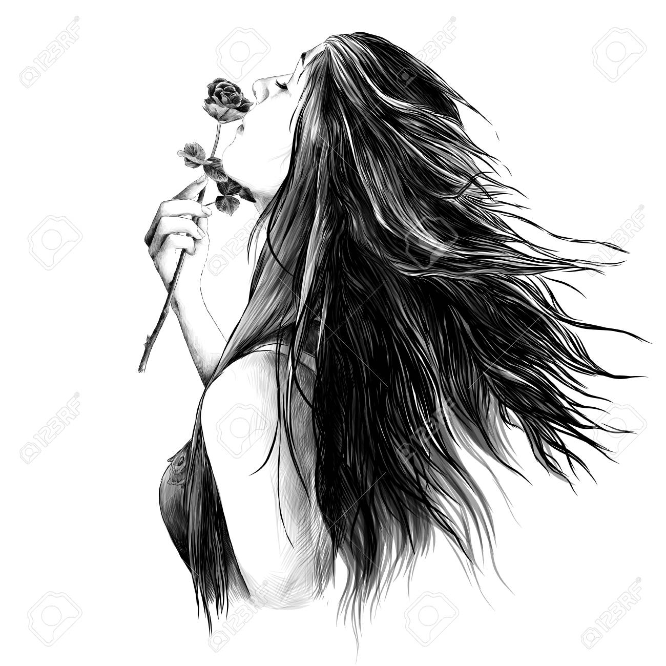 Portrait Of A Girl In Profile With Her Hair Down And With A Rose