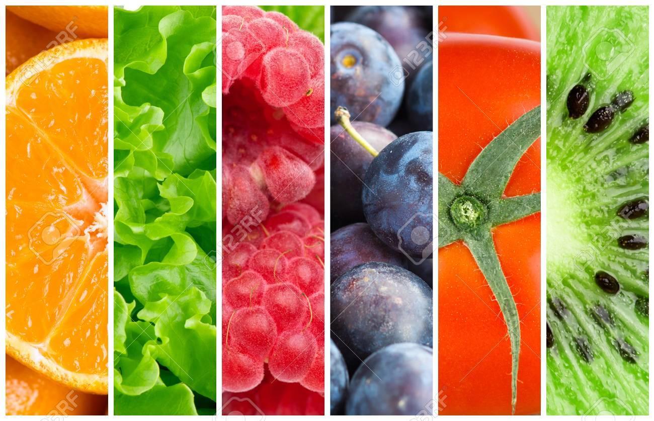 Gesunde Lebensmittel Hintergrund. Sammlung Mit Farbe Früchte, Beeren ...