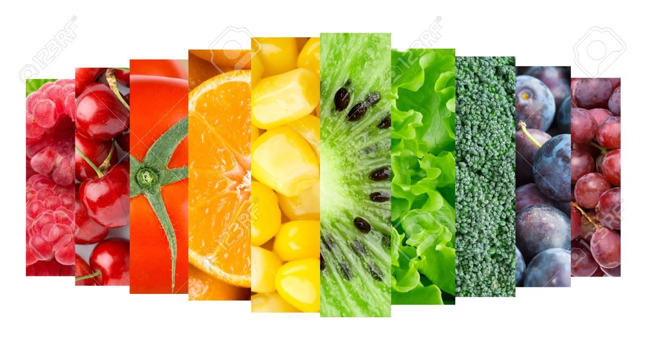 Sammlung Mit Farbe Früchte, Beeren Und Gemüse. Gesundes Essen ...