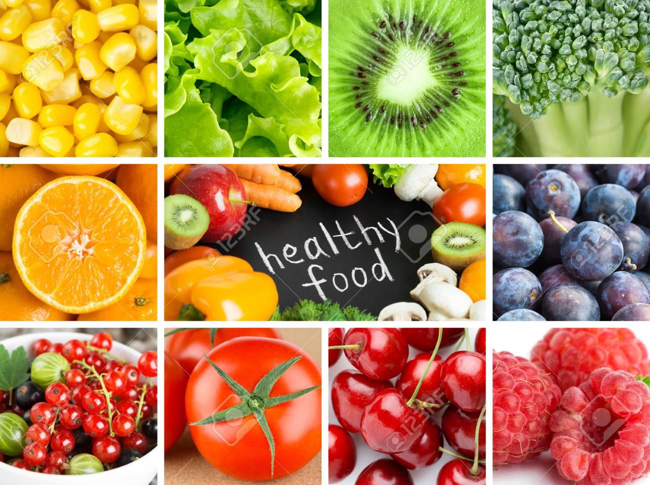 Gesunde Frische Farbe Essen Hintergründe. Früchte Und Gemüse ...