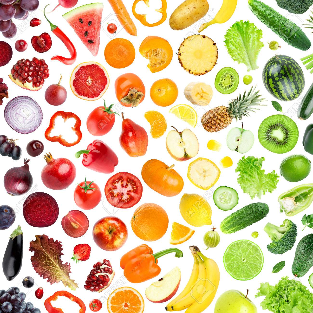 Collection De Fruits Et Légumes Sur Fond Blanc. Les Aliments Frais ...