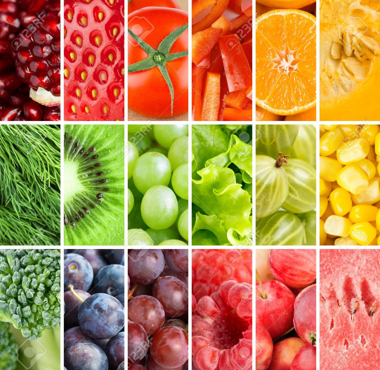 Gesunde Frische Lebensmittel Hintergrund. Sammlung Mit Farbe Früchte ...
