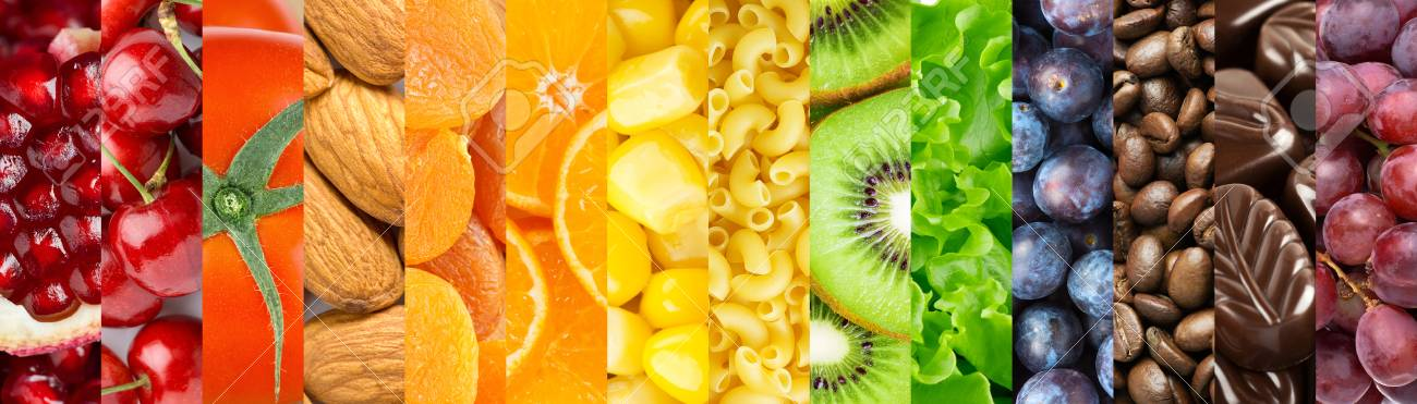 Food background. Collection of delicious food. Fruit and vegetables - 120879858