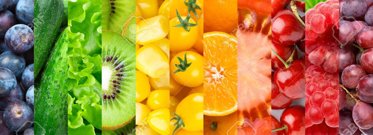 Colorful fruits, vegetables and berries. - 134367625