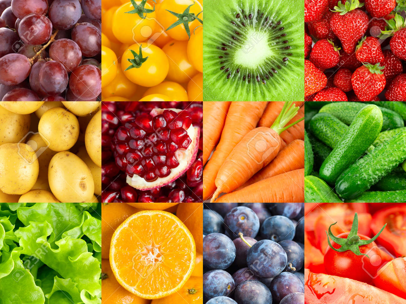 Background of fruits and vegetables. Fresh food - 152273107