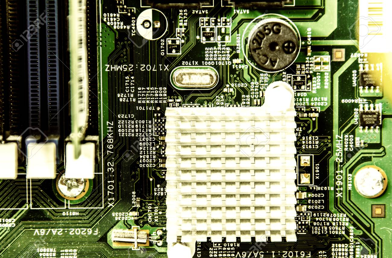 Green System Board With Microchips And Transistors Stock Photo Electrical Circuit Royalty 71746872