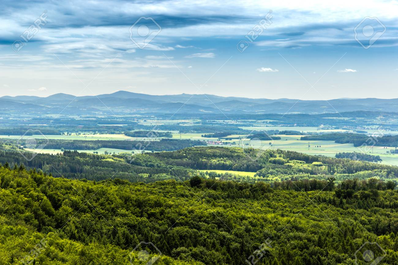 Panoramatic view of the South Bohemia and surrounding landscape, Czech Republic. - 125947152