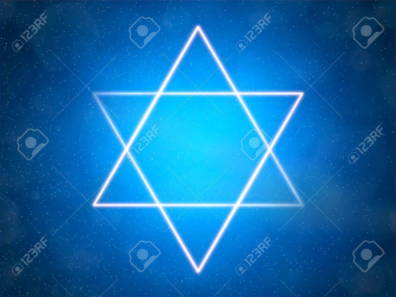 Star of David on a blue background among the stars Stock Photo - 7593504