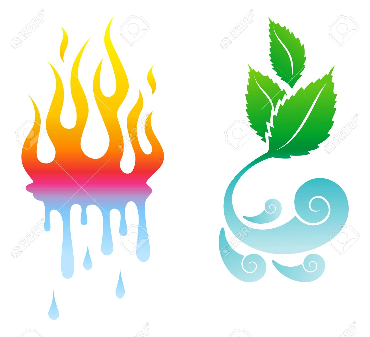 icons opposite the four natural elements Stock Vector - 7731020