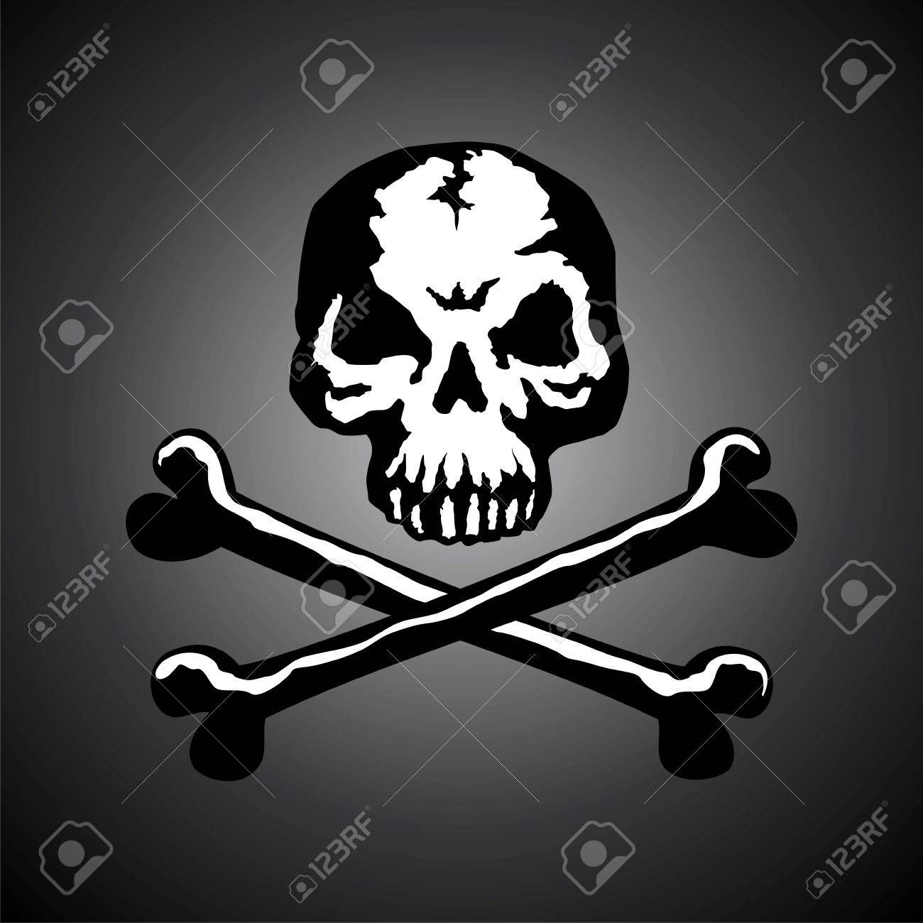 Illustration of a skull with two bones on a dark background Stock Vector - 7731024