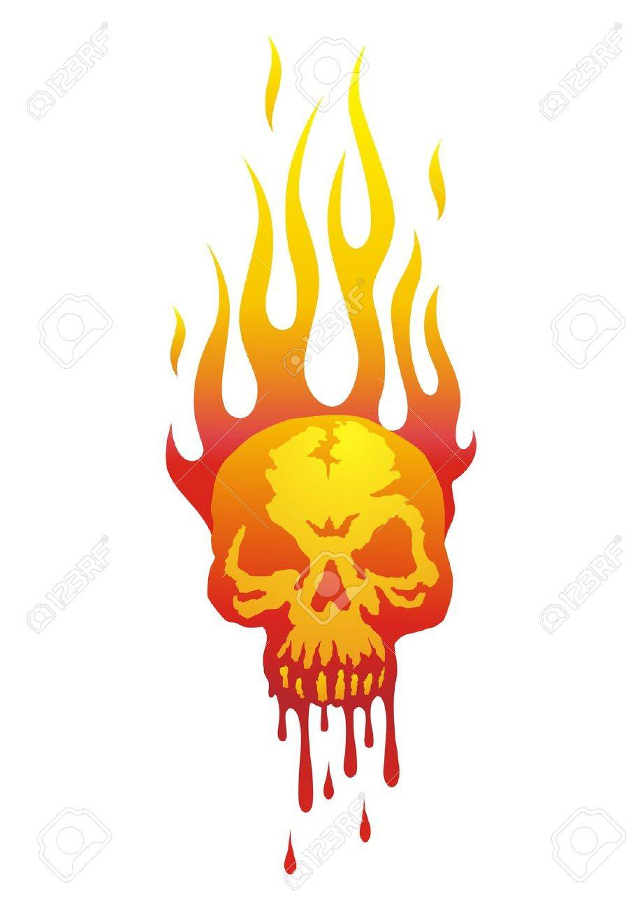 Illustration of the skull in flames with the blood flowing Stock Vector - 7731025