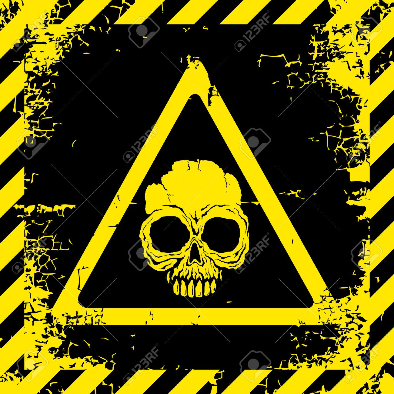 Warning sign with a skull about the dangers Stock Vector - 9136207