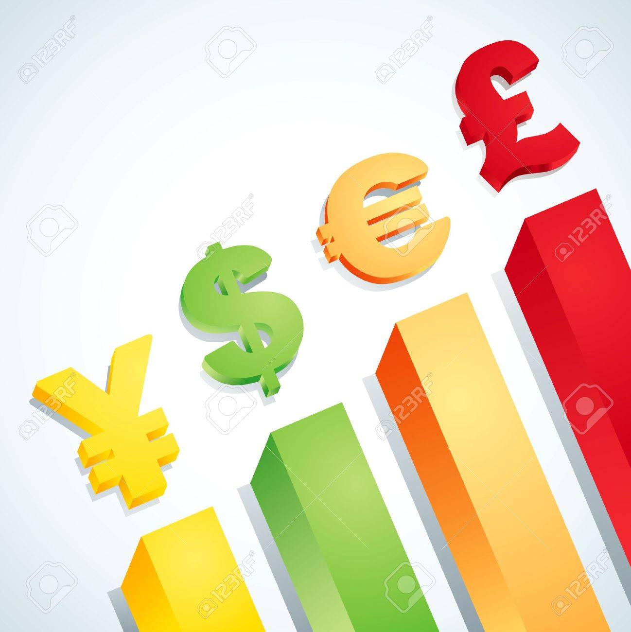 Symbols of dollar, euro, pound and yen Stock Vector - 9355490