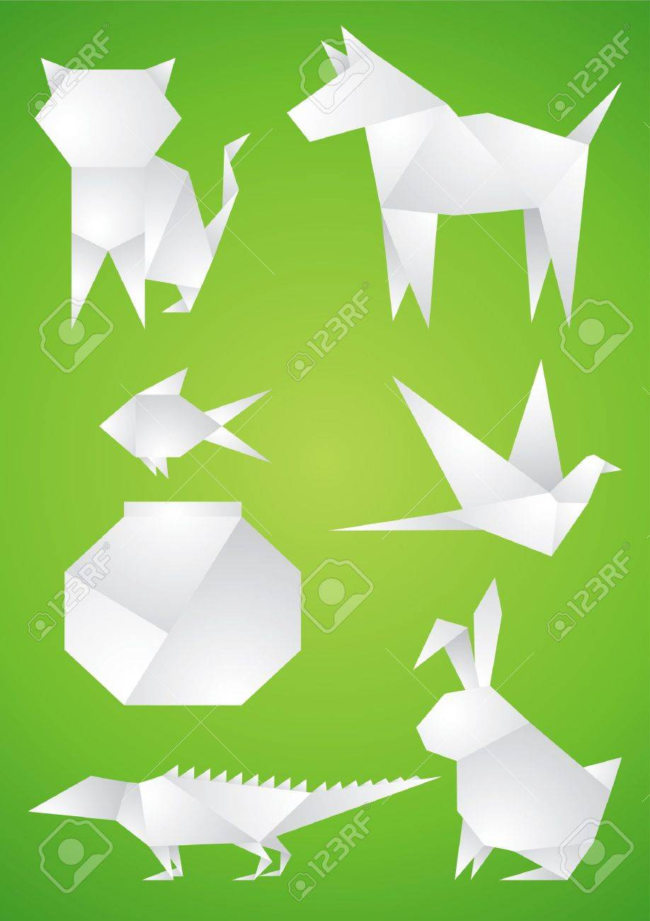 Origami Pets of the white paper on green background Stock Vector - 9499518
