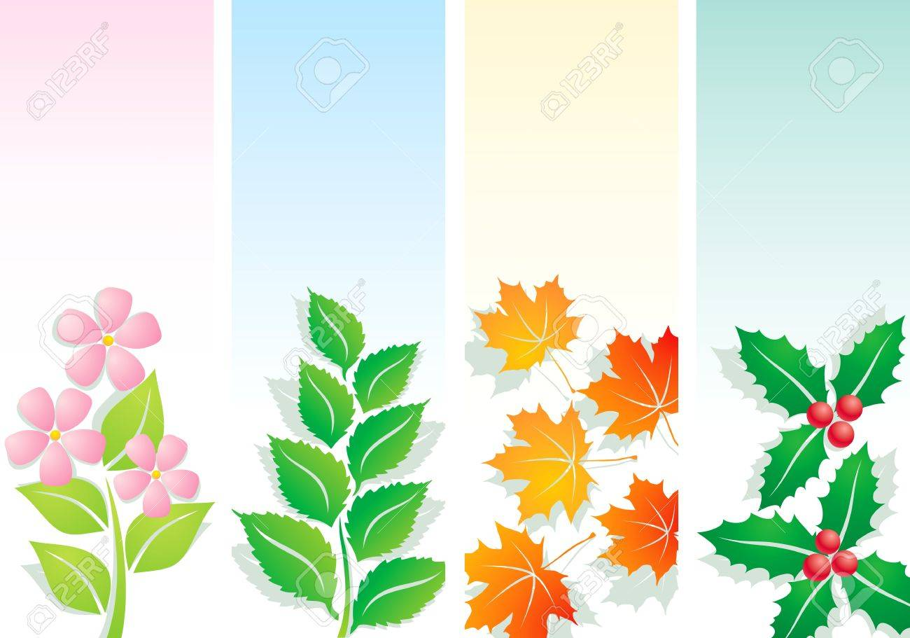 Plants for spring and summer - Plants Four Seasons Spring Summer Autumn And Winter Stock Vector 10272953
