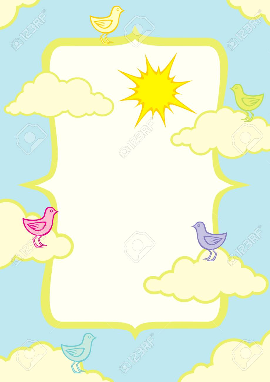 llustration of birds in the clouds on a summer day Stock Vector - 10272952