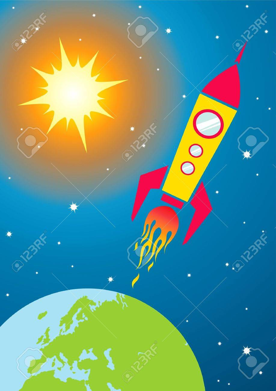 Illustration of a spacecraft in space Stock Vector - 10272958