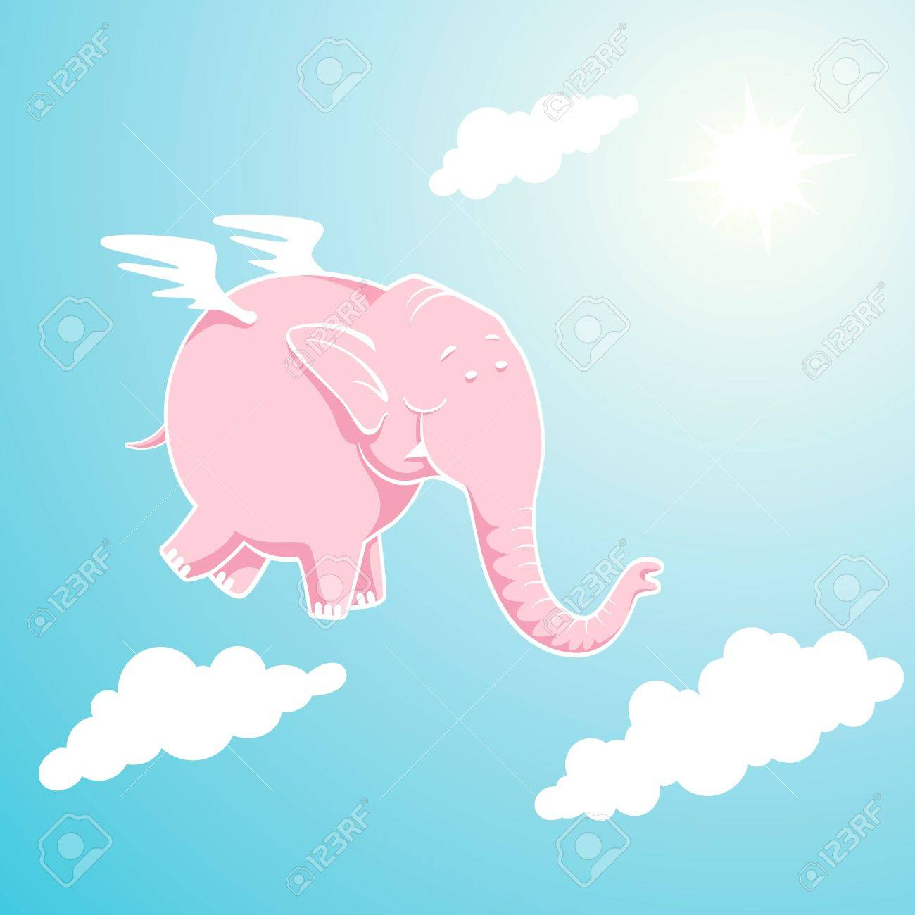 Pink elephant flying through the sky Stock Vector - 10330481