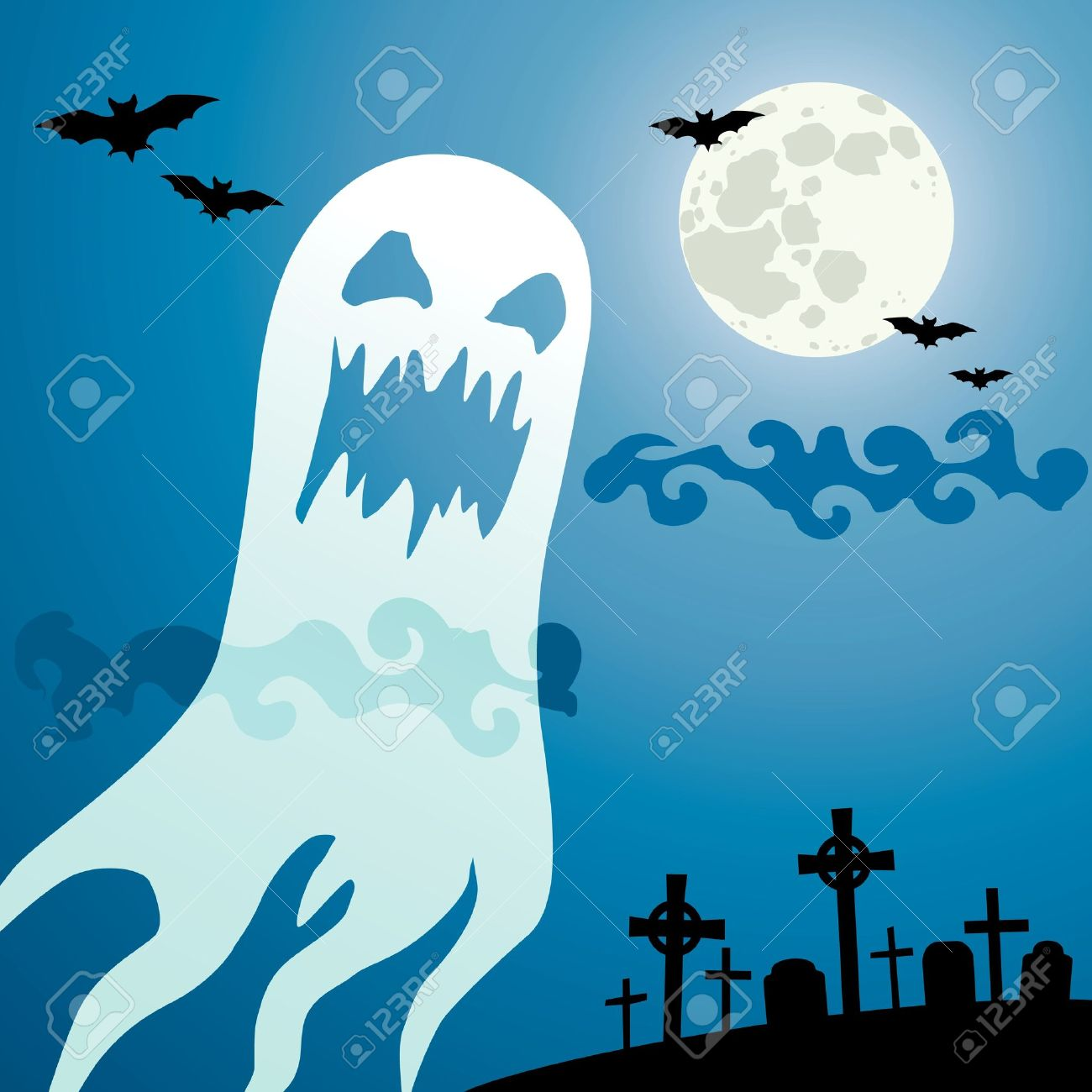 Ghost in the cemetery a moonlit night Stock Vector - 10414834