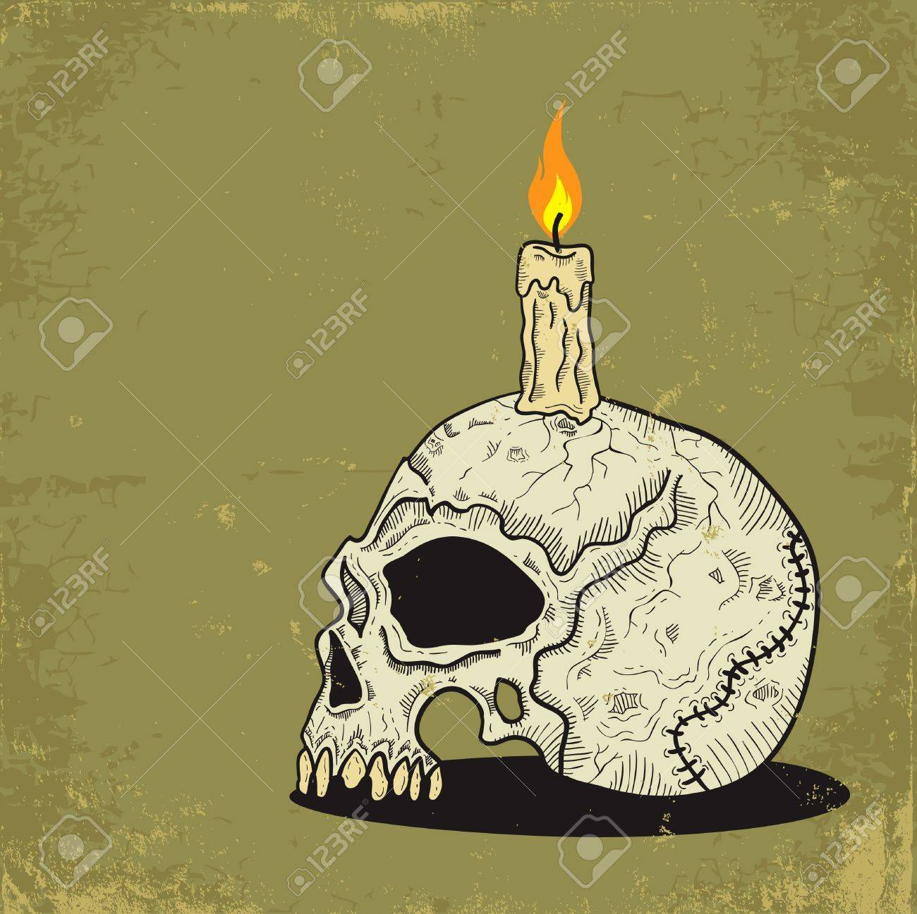 Illustration of a skull with a candle Stock Vector - 10436052