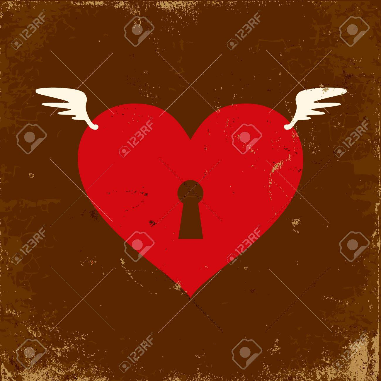 Retro illustration of the heart with wings Stock Vector - 10436055