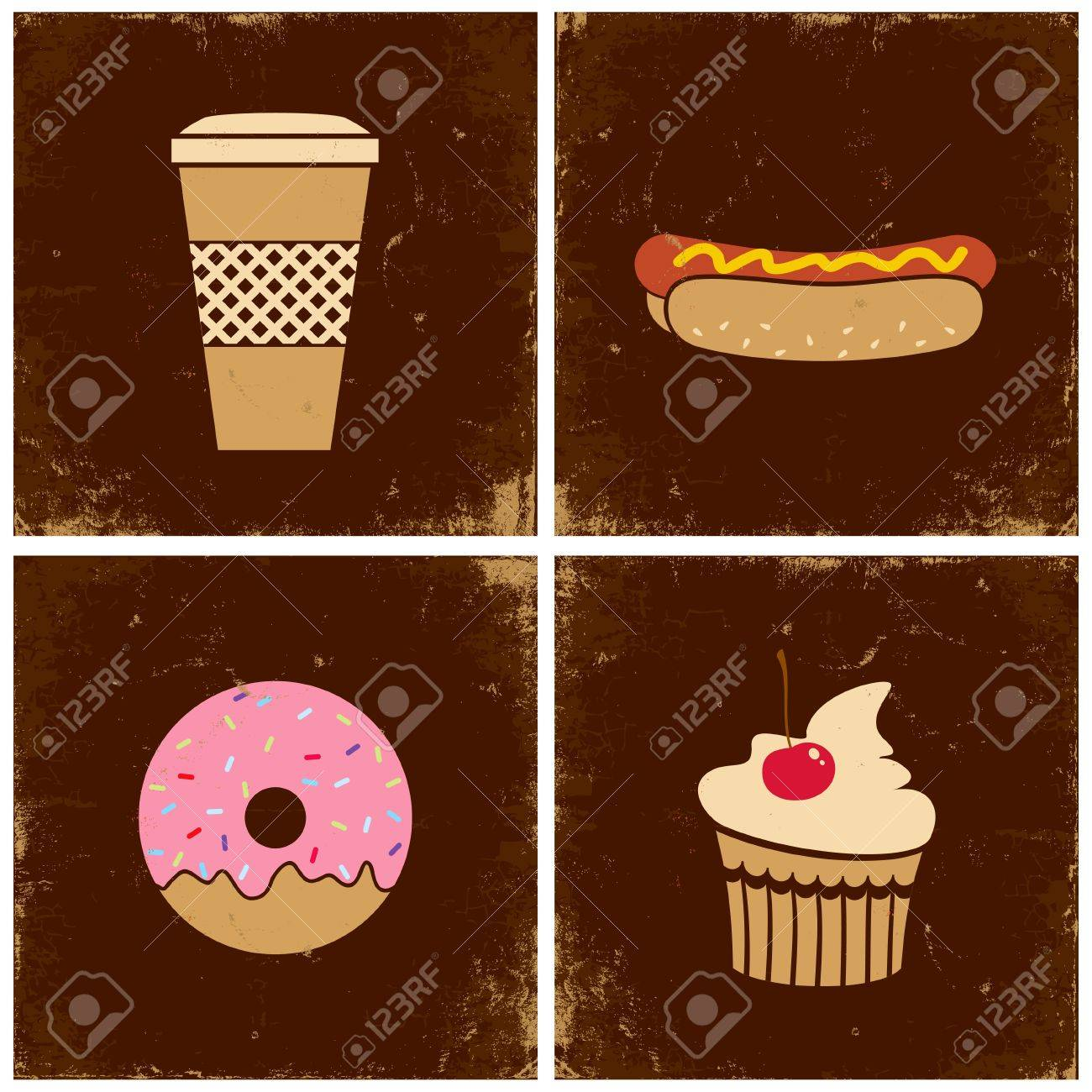 Illustrations of the cup with coffee, hot dogs, donuts and cakes Stock Vector - 10921960