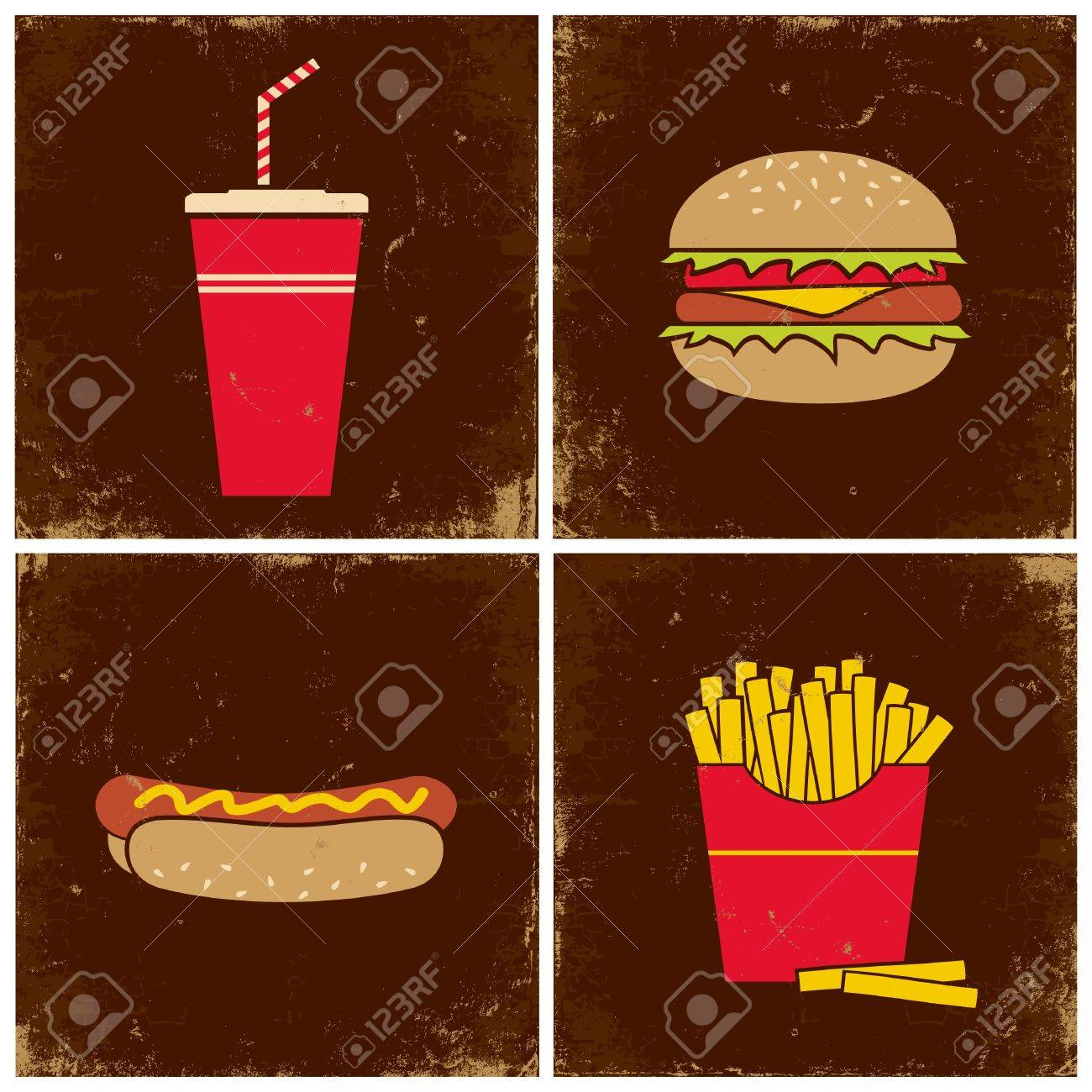 Illustrations cola, a hamburger, french fries and hot dogs Stock Vector - 10921959