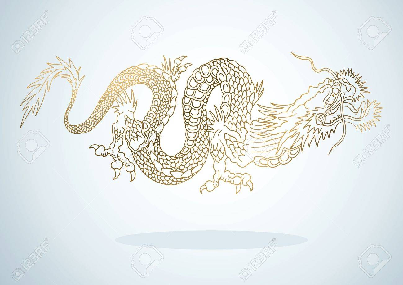 Illustration of golden dragon in the Asian style Stock Vector - 11492075