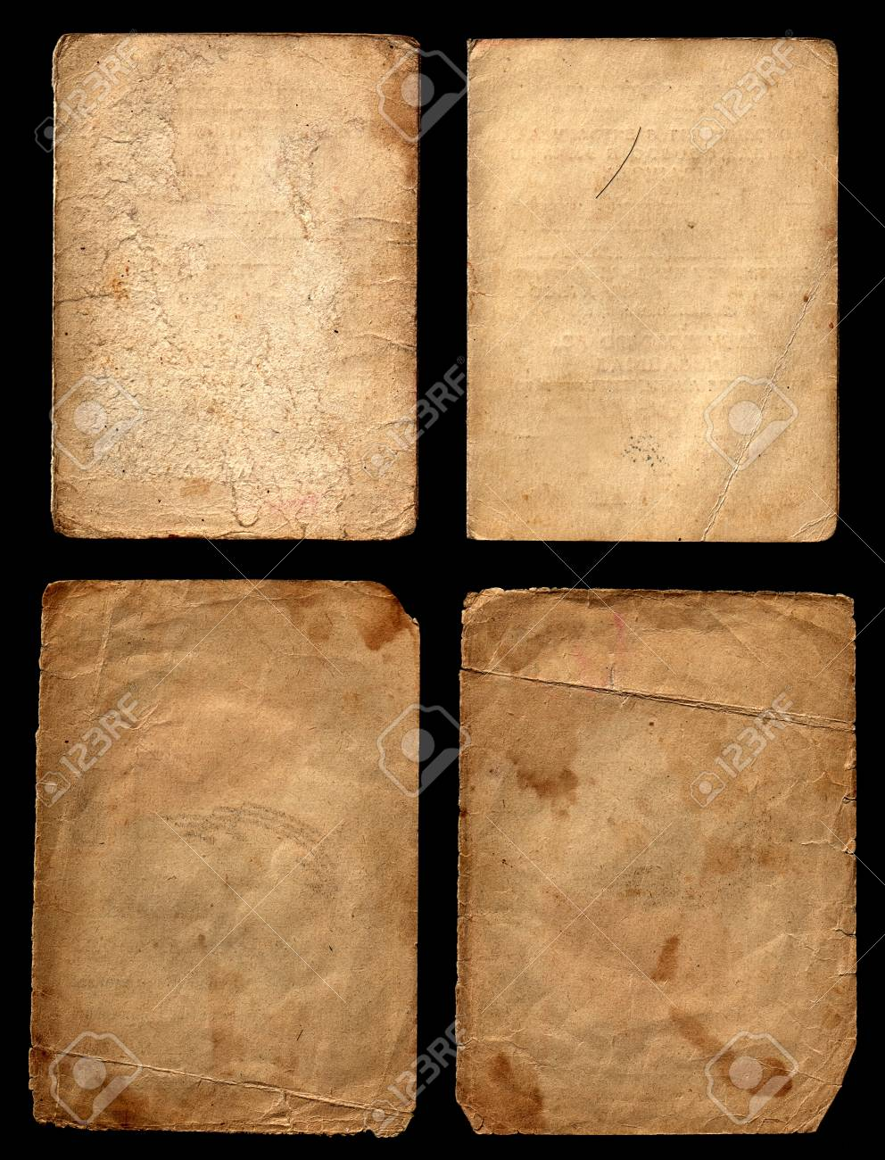 Set of old grunge papers on a black background Stock Photo - 13087633