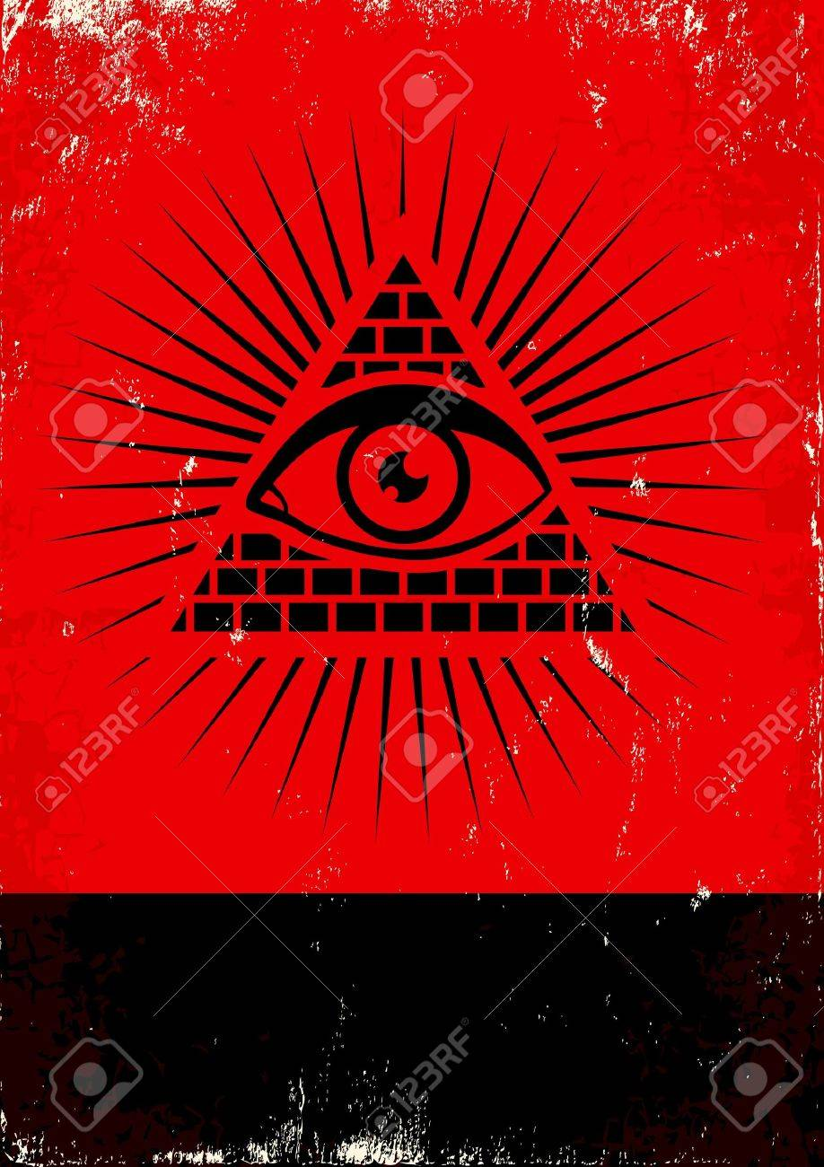 Red and black poster with pyramid and eye Stock Vector - 13696969