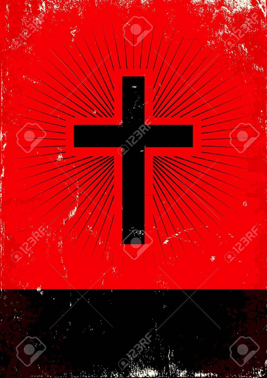 Red and black poster with glow cross Stock Vector - 15061190