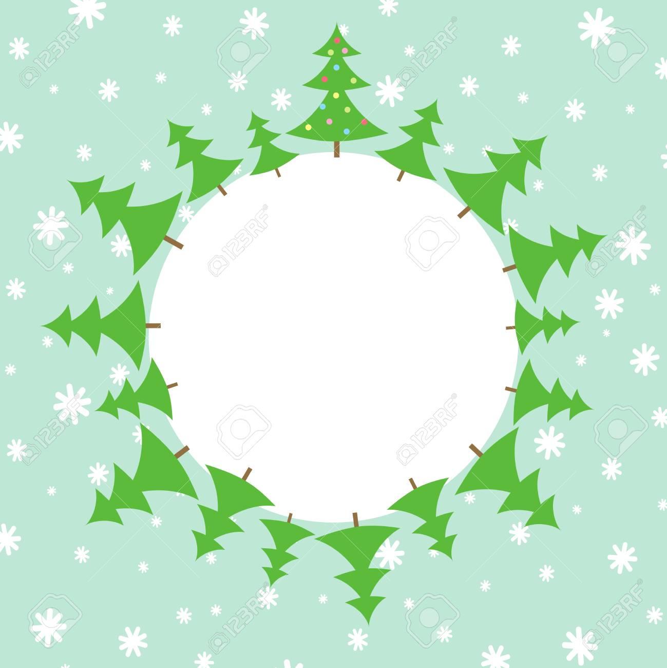 Ilustración De árboles De Navidad En La Nieve Ilustraciones ...