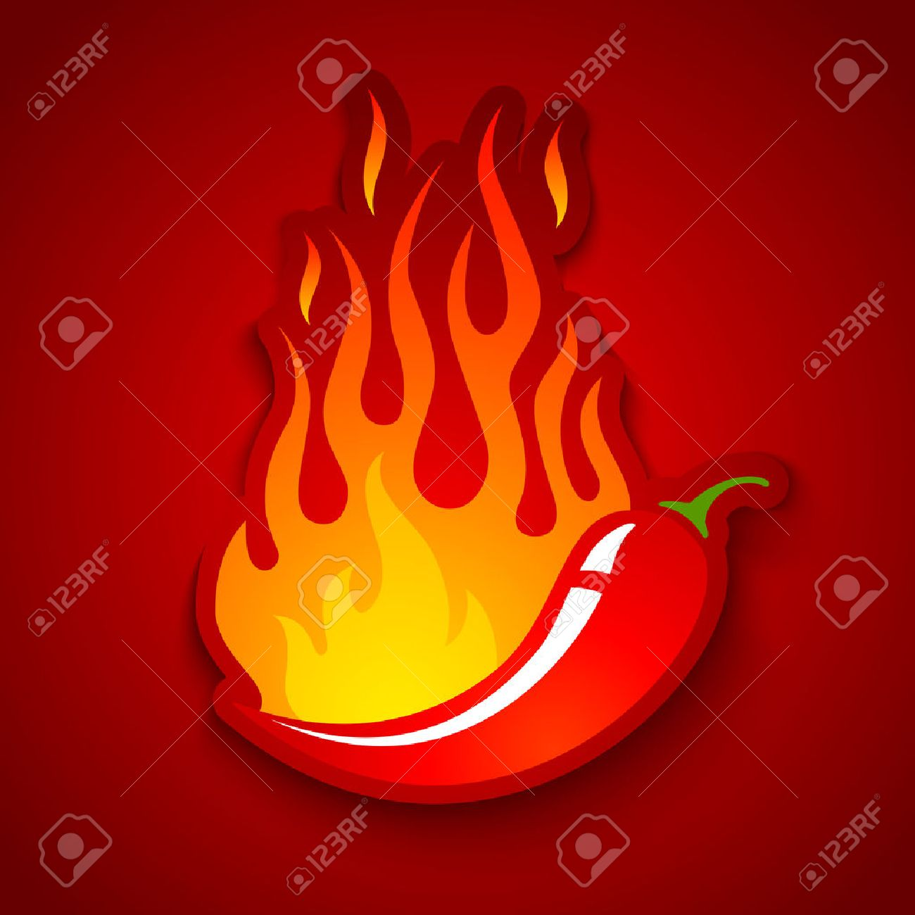 Vector illustration of a chili pepper in fire - 46616944