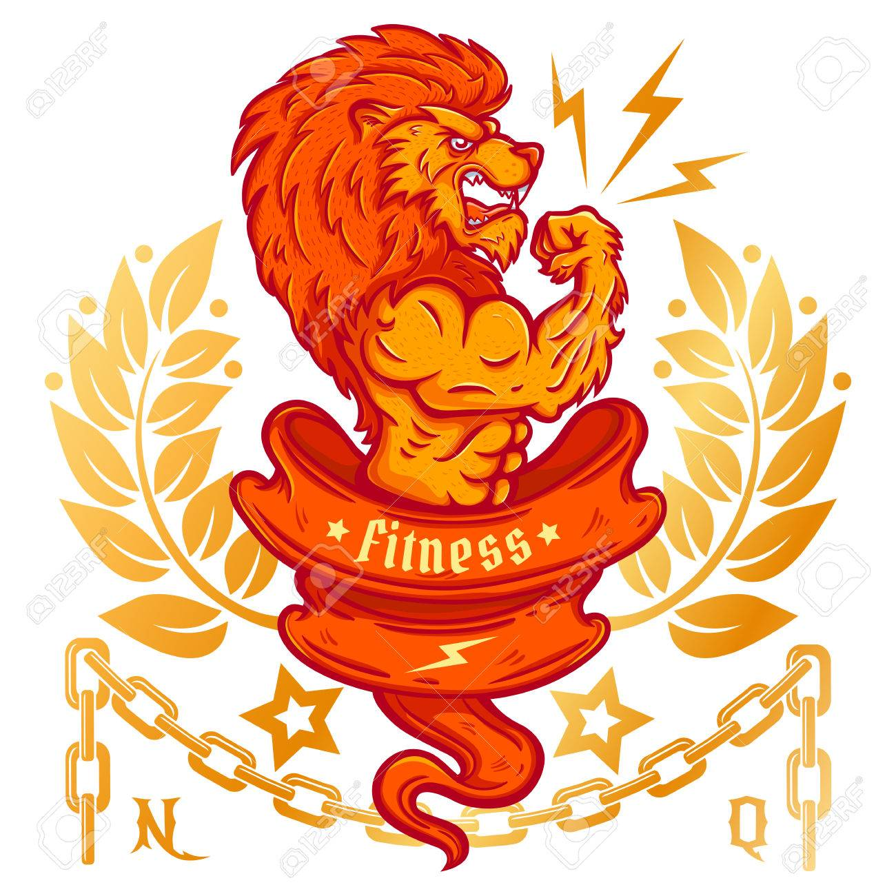 T Shirt Template With A Lion Bodybuilder Royalty Free Cliparts