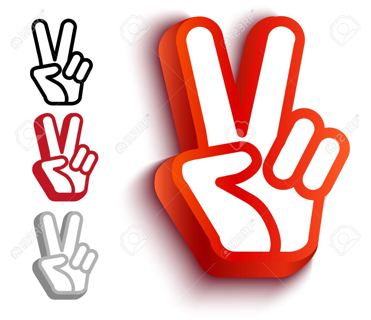 Vector set icons with hand and peace symbols hand and two fingers vector set icons with hand and peace symbols hand and two fingers are like peace biocorpaavc Images