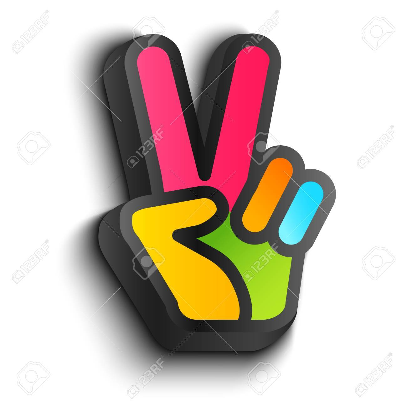 Vector icon with colorful hand and peace symbols hand and two vector icon with colorful hand and peace symbols hand and two fingers are like peace biocorpaavc Images
