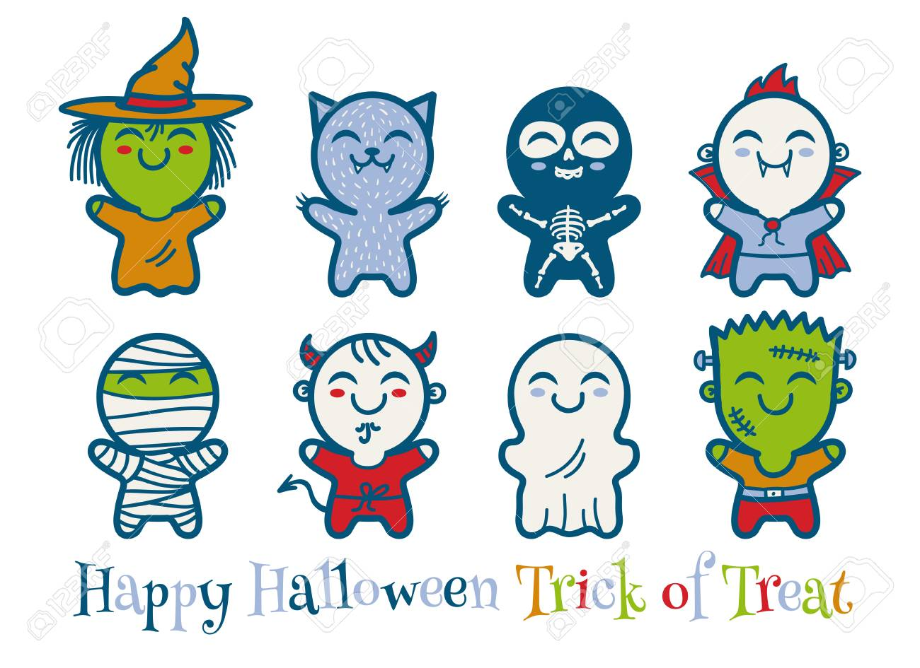 vector vector set icons children with costumes for halloween cute kids in halloween monsters costumes