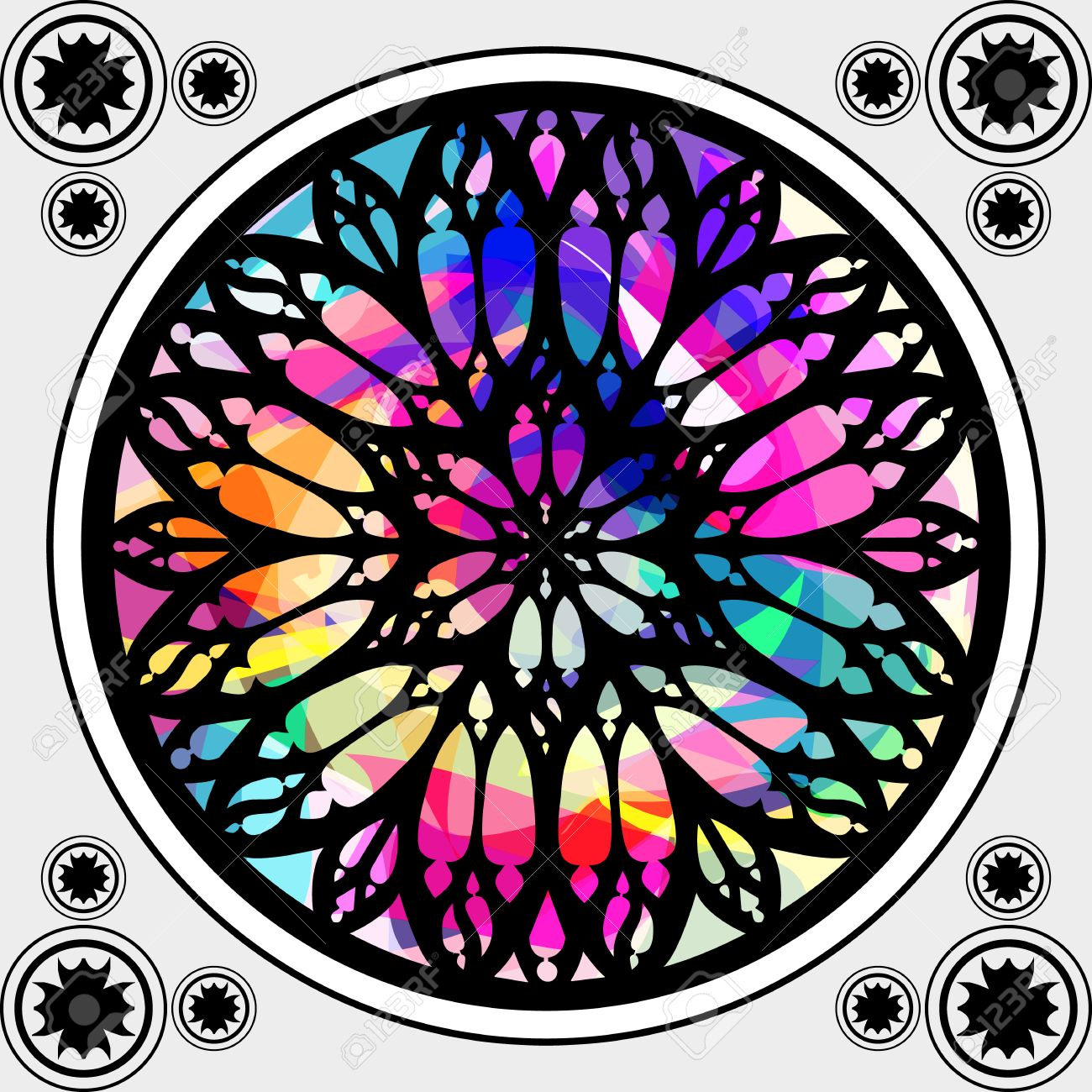 Gothic Stained Glass Window Architecture Element Stock Vector