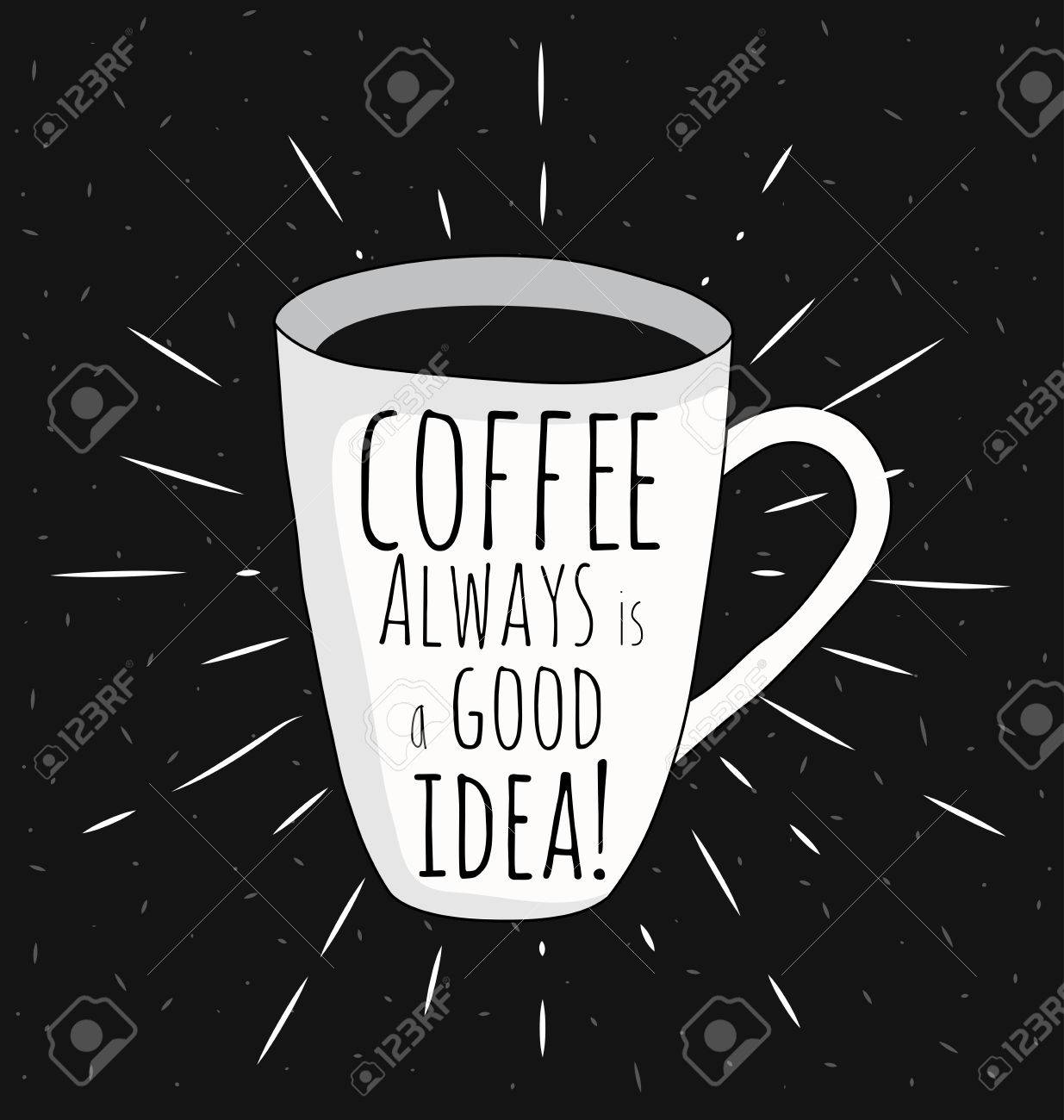 Black And White Motivational Posters Vintage Style Cafe Menu With Calligraphy Coffee Pot Shape