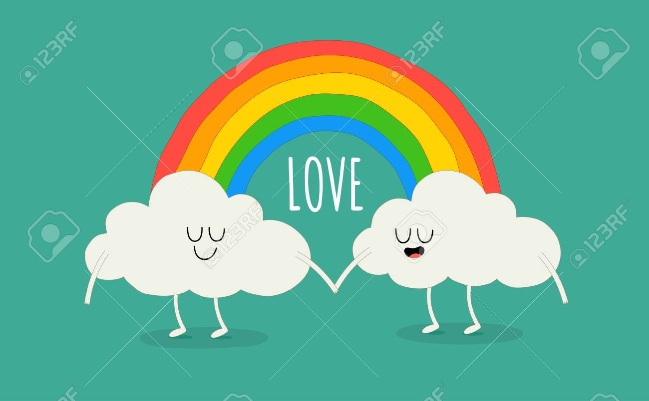 Rainbow Among The Cute Animated Clouds. Vector Illustration ...