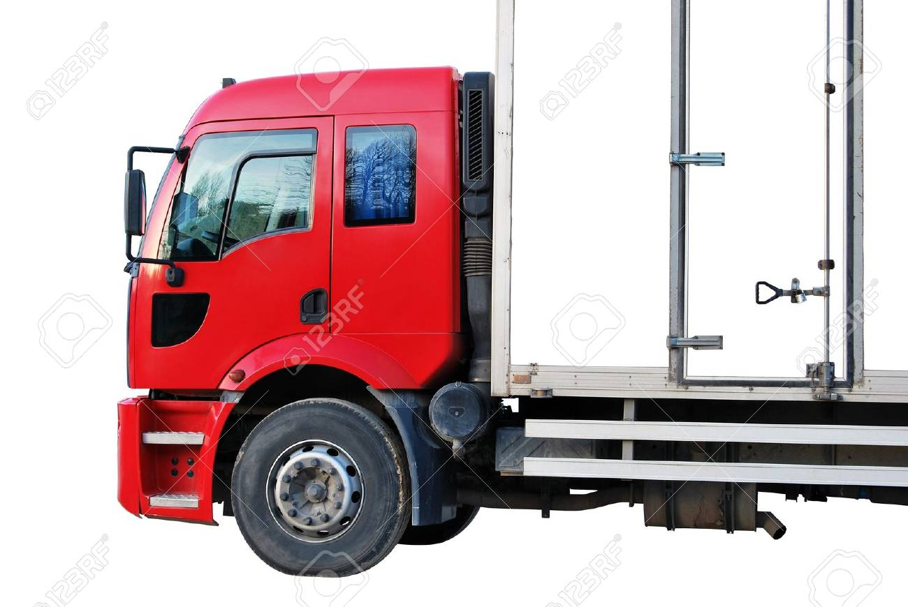 Red white truck isolated on a white background Stock Photo - 9369338