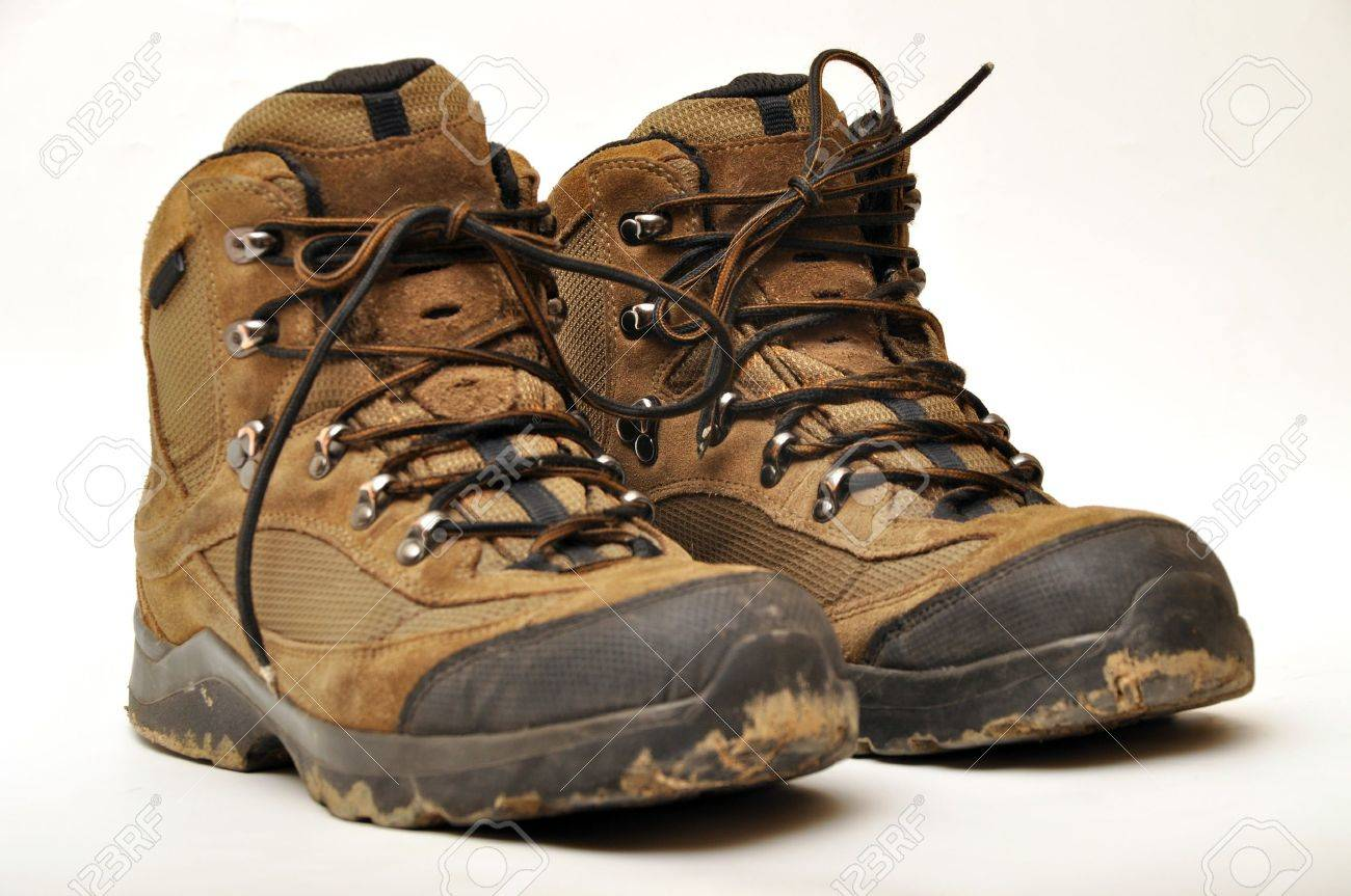 Trekking shoes and a white background Stock Photo - 11099554