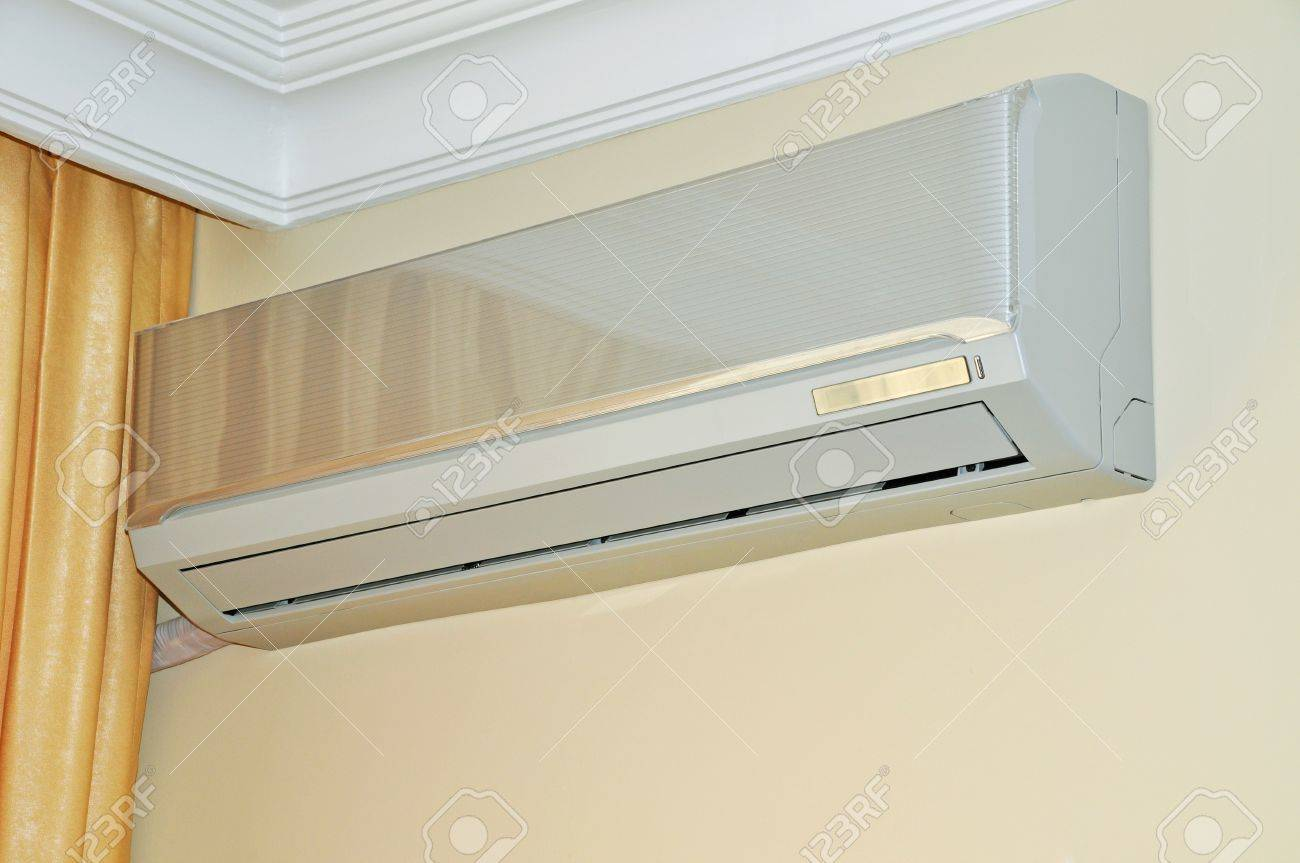 Air conditioner indoor unit mounted on home wall Stock Photo - 11512333