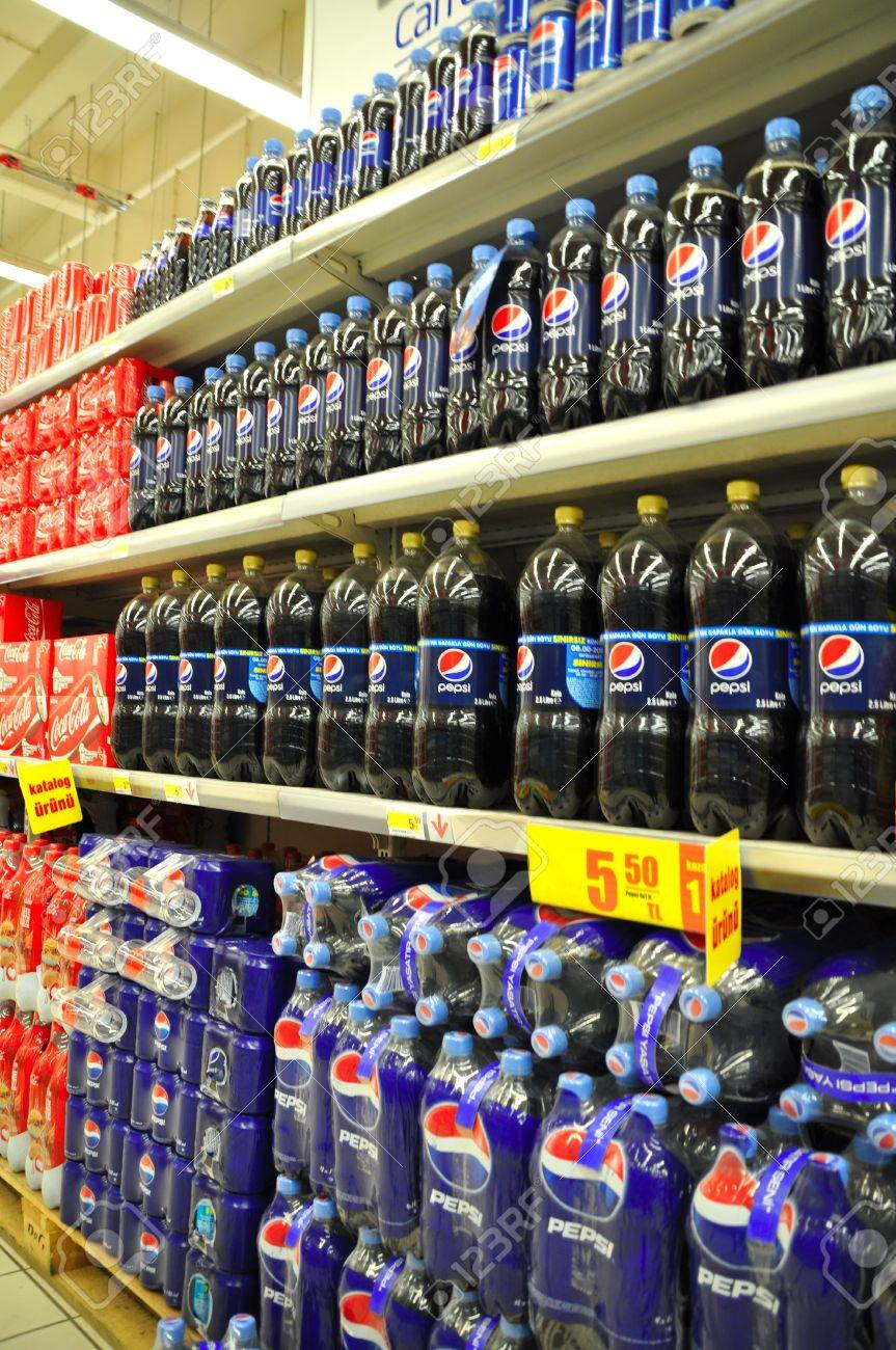 Istanbul Maltepe Carrefour has opened a new branch. Soft drinks section Stock Photo - 11390261