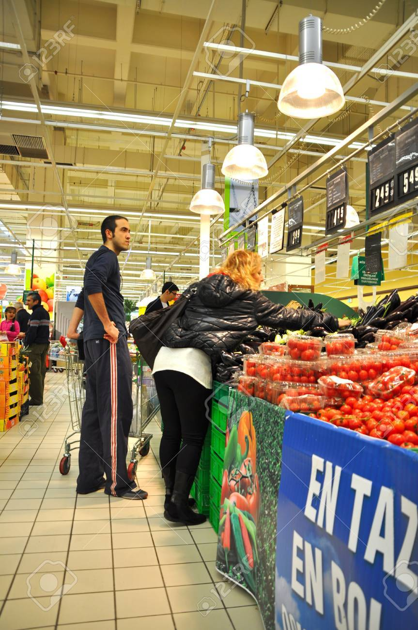 Istanbul Maltepe Carrefour has opened a new branch. Greengrocer section Stock Photo - 11390266