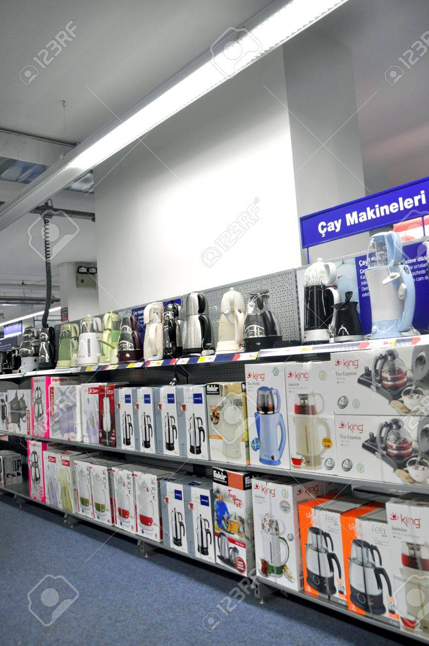 Electro World opened in 2009 istanbul Kartal, the service continues. Small home appliance section Stock Photo - 11906487